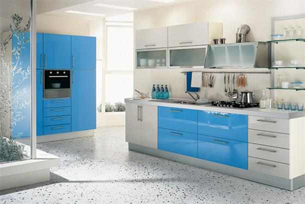 Image of: Ideas for Best Kitchen Cabinet with Modern Decorating-Blue-White