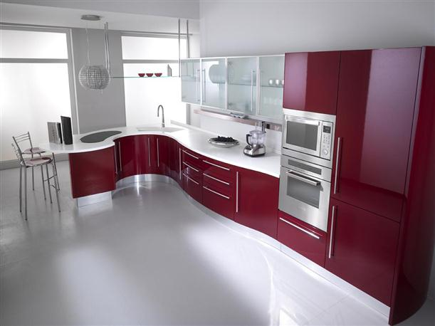 Image of: Ideas for Best Kitchen Cabinet with Modern Decorating White Red Paint