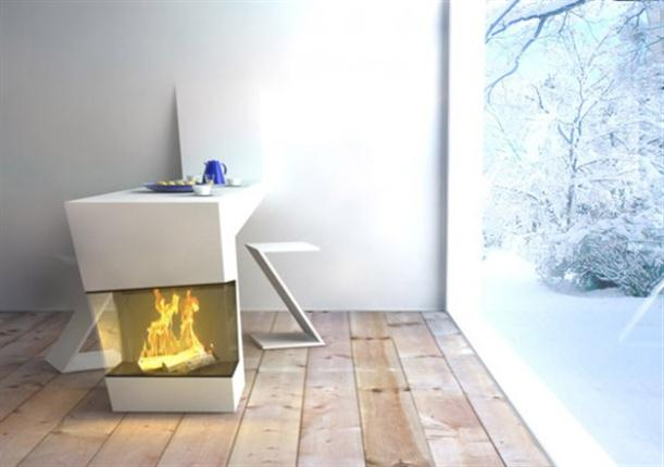 Image of: Modern Kitchen Table Design Featured Built In Fireplace side