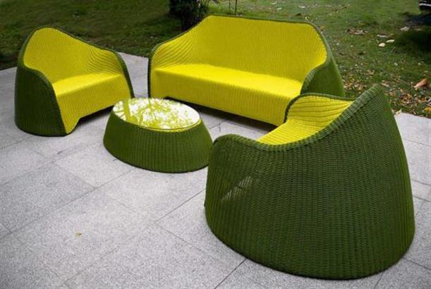Image of: Stylish Outdoor Furniture Called Olive Green by Solovyov Design-set