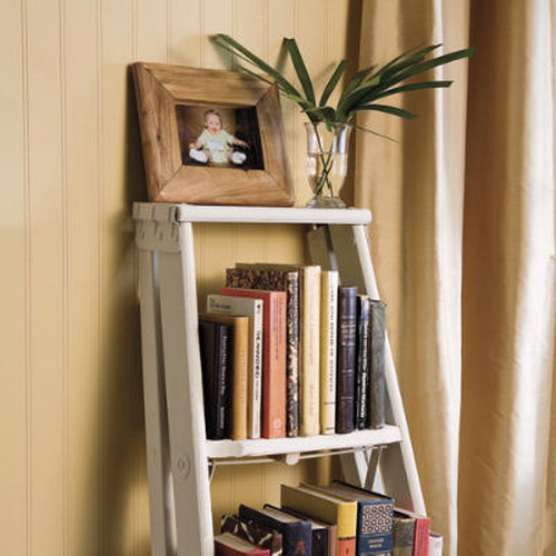 Image of: The House Face for Unique Rack Ideas from Wooden Ladders Bookcase