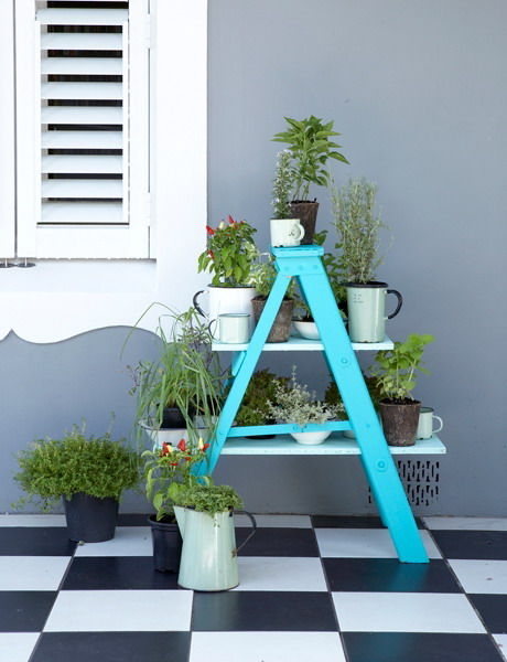 Image of: The House Face for Unique Rack Ideas from Wooden Ladders Pot