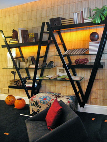 Image of: The House Face for Unique Rack Ideas from Wooden Ladders decorative