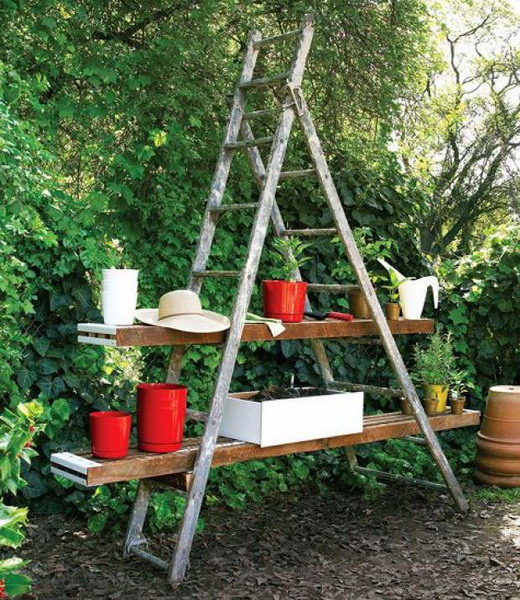 Image of: The House Face for Unique Rack Ideas from Wooden Ladders planters
