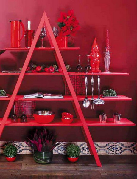 Image of: The House Face for Unique Rack Ideas from Wooden Ladders red