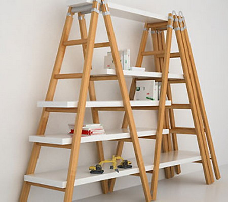 Image of: The House Face for Unique Rack Ideas from Wooden Ladders simple