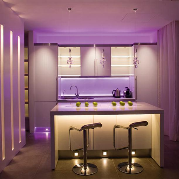 Tips for Planning Kitchen Lighting with Purple Theme
