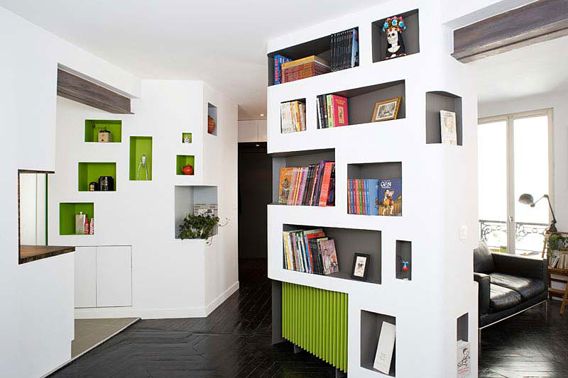 Image of: Bookcase-Design-Ideas-at- Apartment Interior Renovation Design with White Theme by H2O Architectes