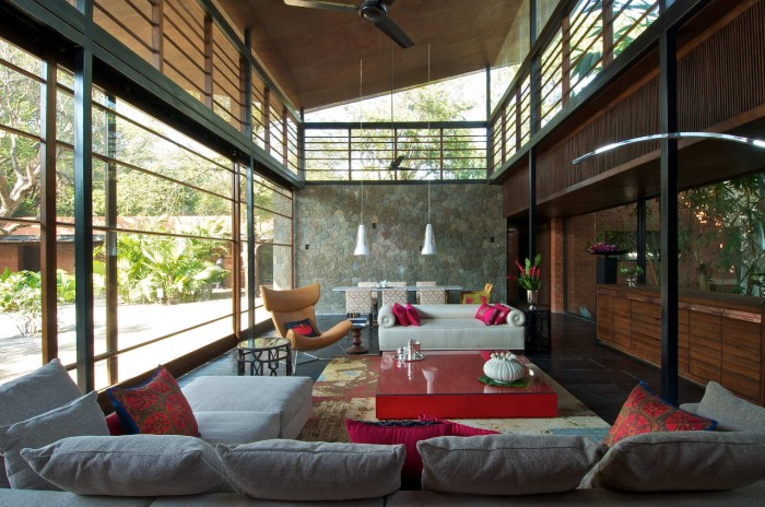 Image of: Living-Room-Layout Rustic Home Design Called Brick Kiln House Design in Small Village Munavali, India