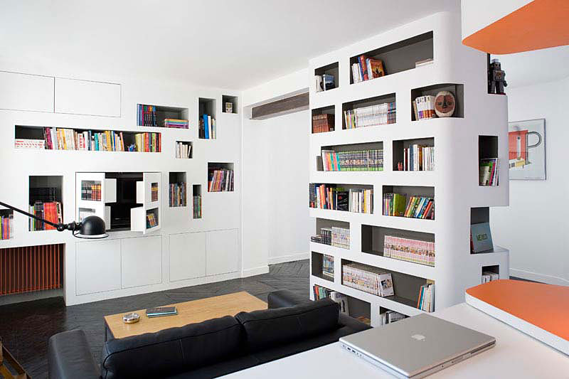 Image of: Living-Room-and-Workspace-at Apartment Interior Renovation Design with White Theme by H2O Architectes