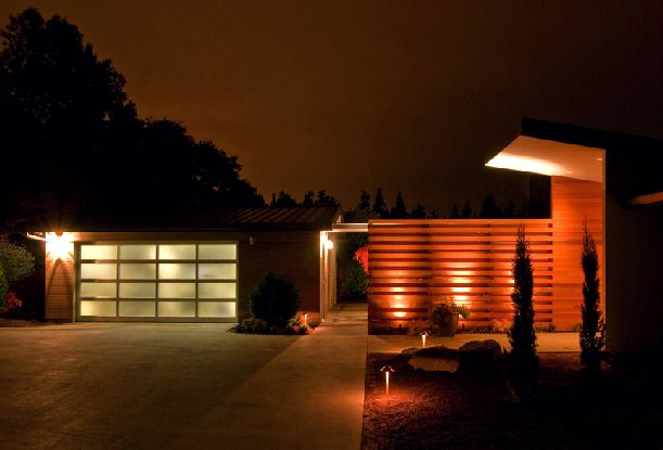 Image of: Mid Century Home Renovation Ideas with Red Light at Night view