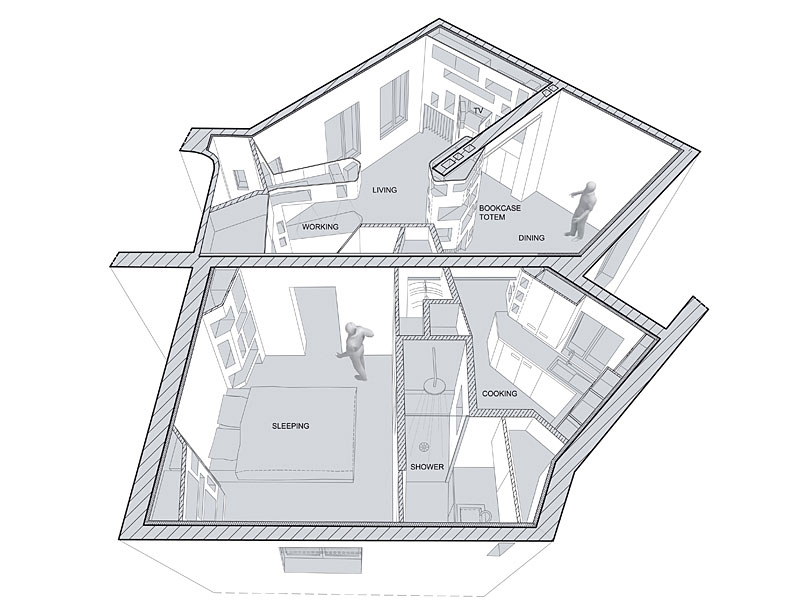 Image of: Room-Layout-Picture-Plan-for Apartment Interior Renovation Design with White Theme by H2O Architectes