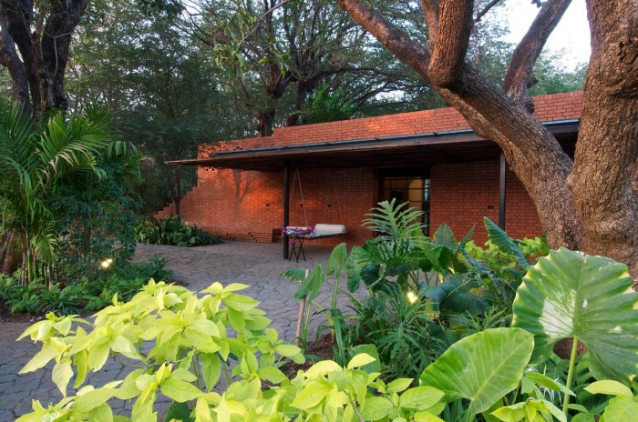 Rustic Home Design Called Brick Kiln House Design in Small Village Munavali, India view