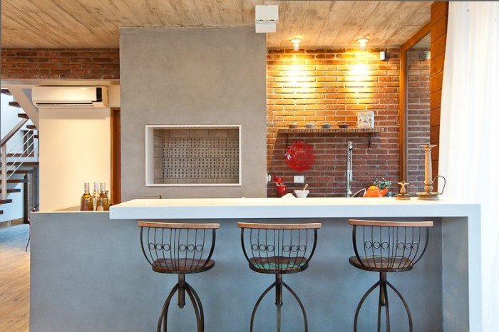 Image of: Two Story House Design Called Linear Maritimo House in Rio Grande do Sul – Brazil Kitchen-Island-Table