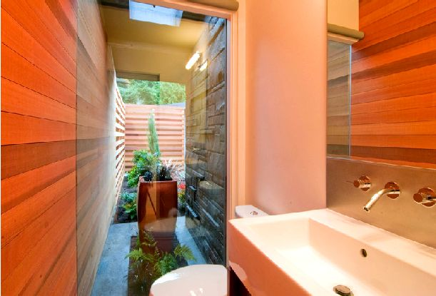 Image of: bathroom-Mid Century Home Renovation Ideas with Red Light at Night