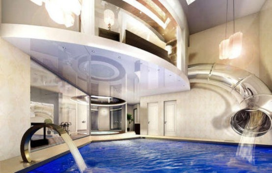 Image of: Indoor Water Features for Amazing Mansion in Bowdon, England full lights