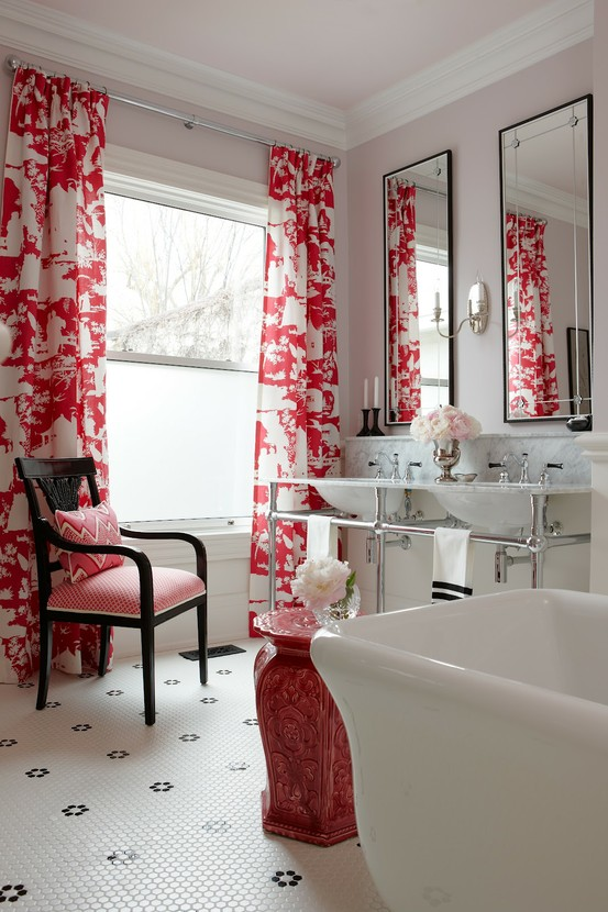 Image of: Bathroom Vanities Contemporary with Red White Theme view
