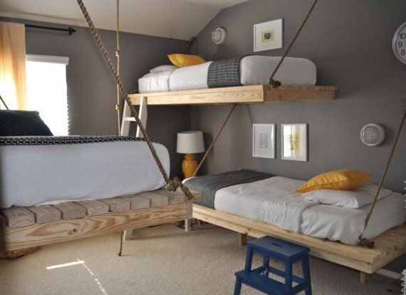 Bedroom Interior Decorating Ideas in Small Spaces with 7 Creative Designs Suspended-Beds-570x414
