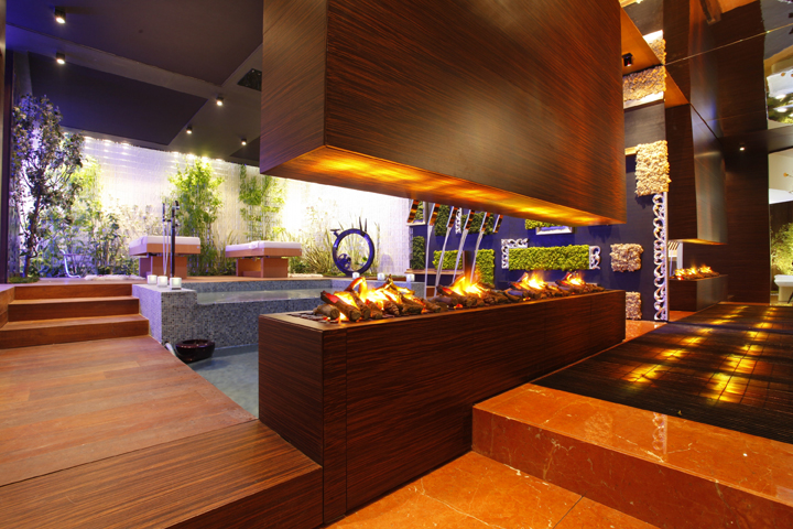 Image of: Interior Spa Design with Colourfull Theme fire