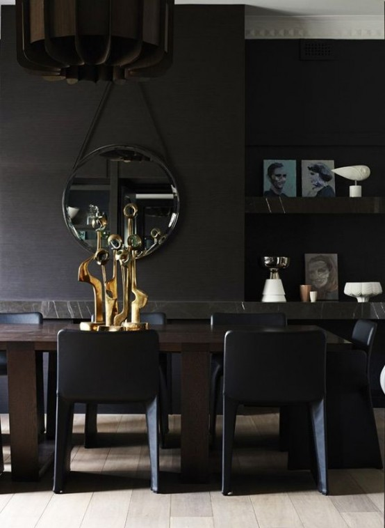 Image of: Black Interior Decoration with Dark Furniture too view chair