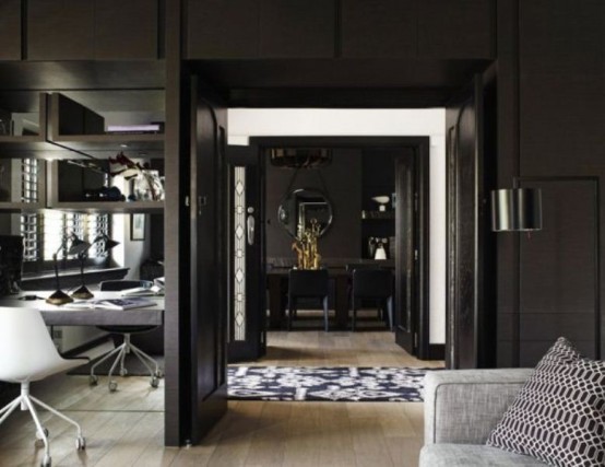 Image of: Black Interior Decoration with Dark Furniture too view door