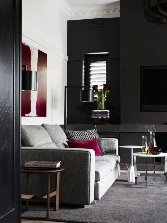Image of: Black Interior Decoration with Dark Furniture too view sofa