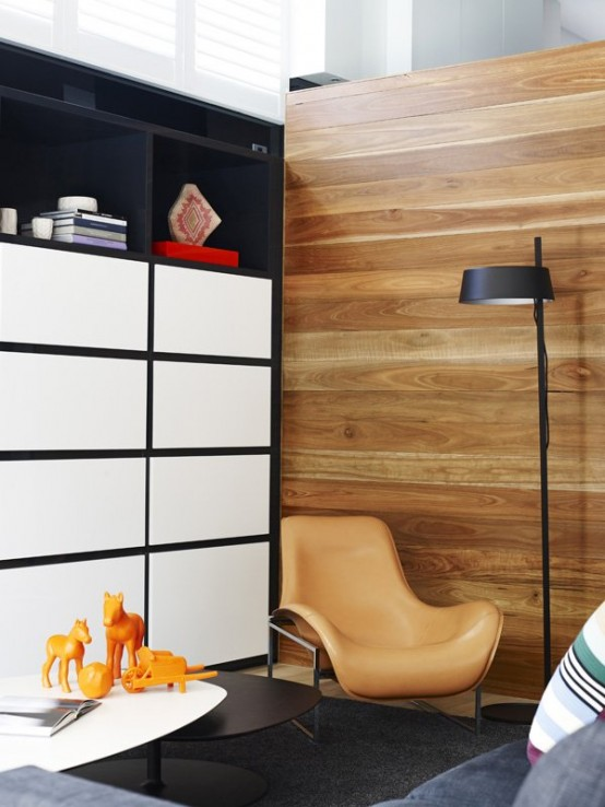 Image of: Black Interior Decoration with Dark Furniture too view storage and lamp