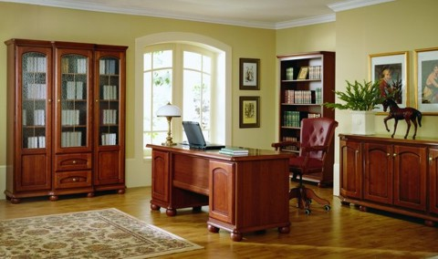 Image of: Home Offices Decor Idea with Wooden Furniture Bawaria_gabinet