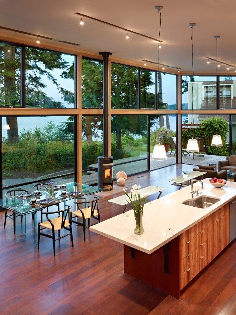 Image of: Modern Wooden House with a Waterfront Property by FINNE Architects Dining-Room-Area