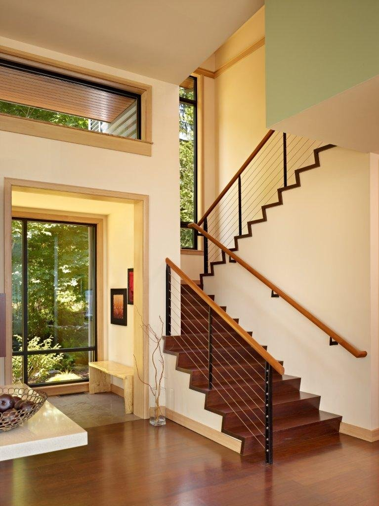 Image of: Modern Wooden House with a Waterfront Property by FINNE Architects Staircase