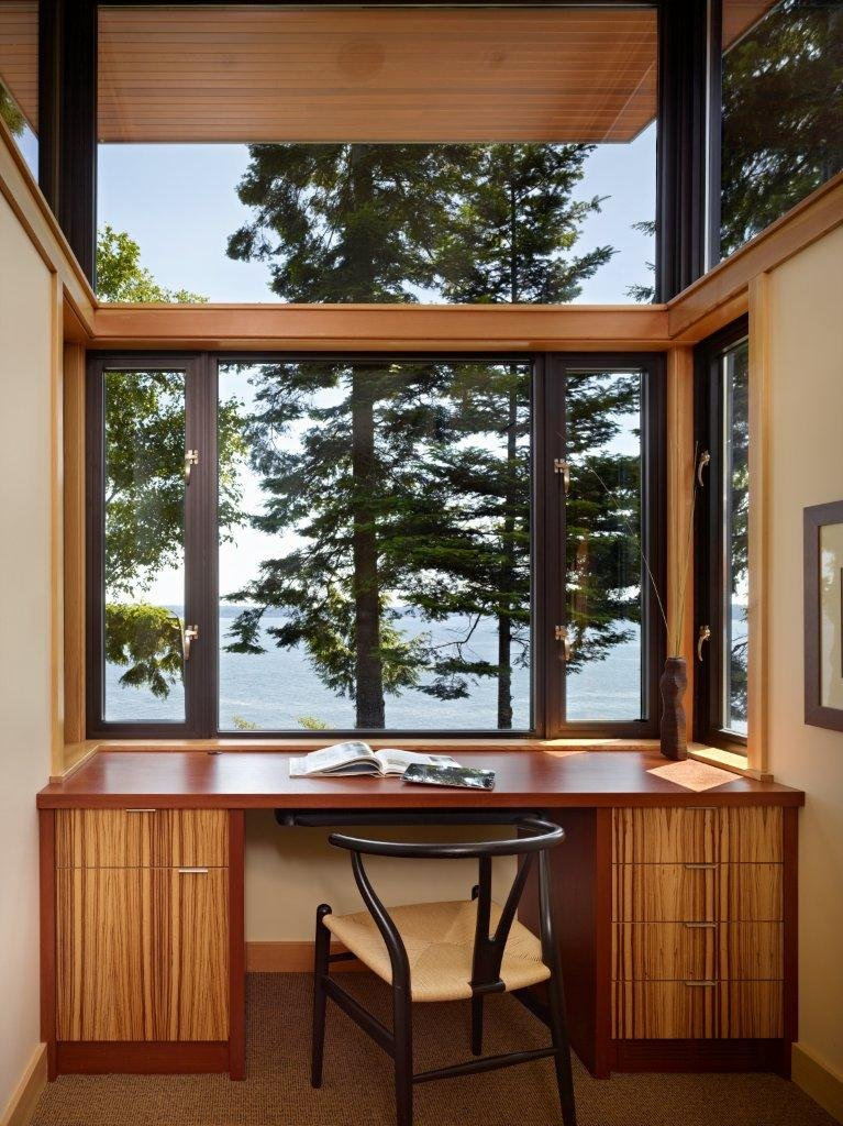 Image of: Modern Wooden House with a Waterfront Property by FINNE Architects reading room
