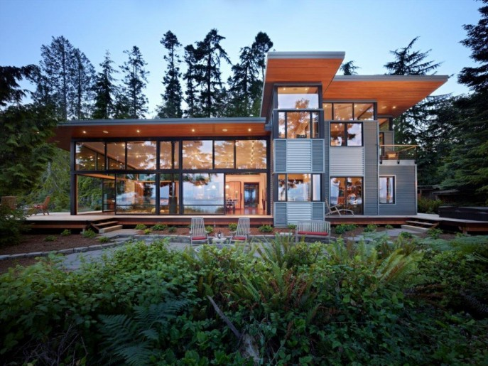 Image of: Modern Wooden House with a Waterfront Property by FINNE Architects view 687×515