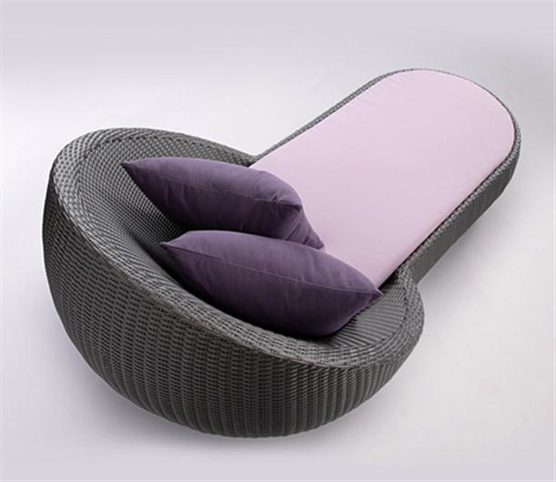Image of: Poolside Chaise Lounge with Matching Coffee Table with Purple-cushion
