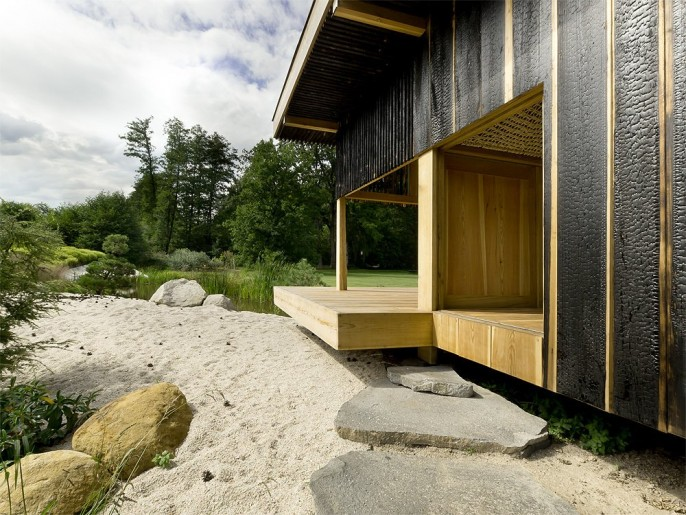 Image of: Tea house Design with Nearby Landscape door