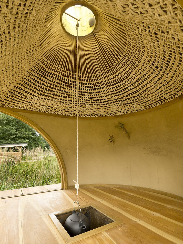 Image of: Tea house Design with Nearby Landscape roof