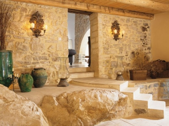 Image of: Traditional House Design in French with Classic Interior view artistic rock