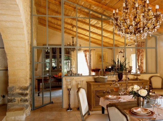 Image of: Traditional House Design in French with Classic Interior view dining room