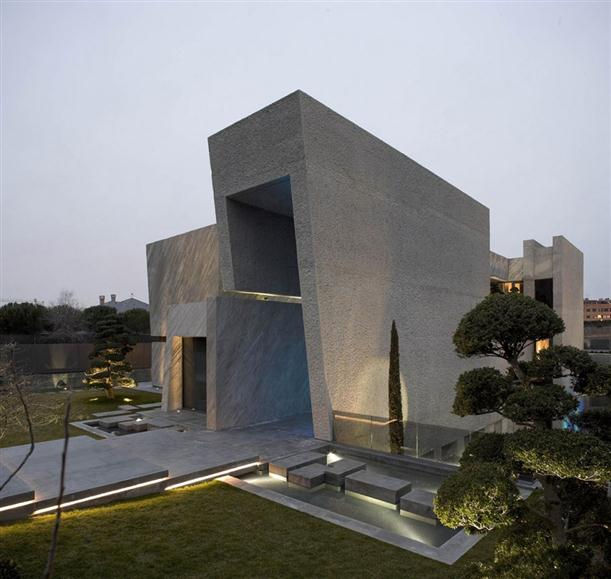 Image of: Architecture House Design called Open Box House in Madrid view Front-Side top
