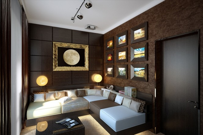 Image of: Decorated Room Ideas view Brown-snug-lounge-decor