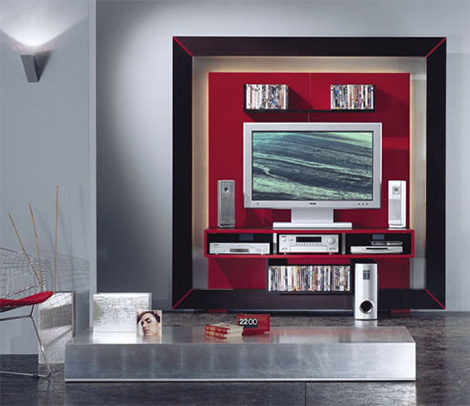 Image of: Entertainment Wall Unit with Modern TV Center view