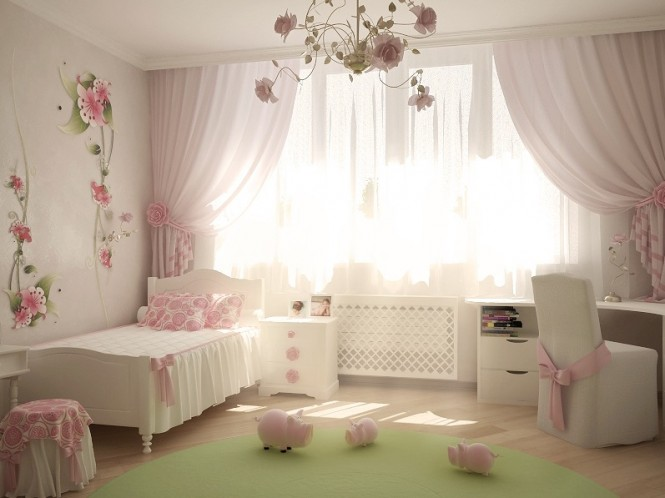 Image of: Kids Bedroom Decoration Ideas with Top 8 Designs view Pink-white-girls-room
