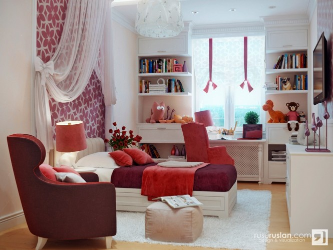 Image of: Kids Bedroom Decoration Ideas with Top 8 Designs view Red-white-bedroom