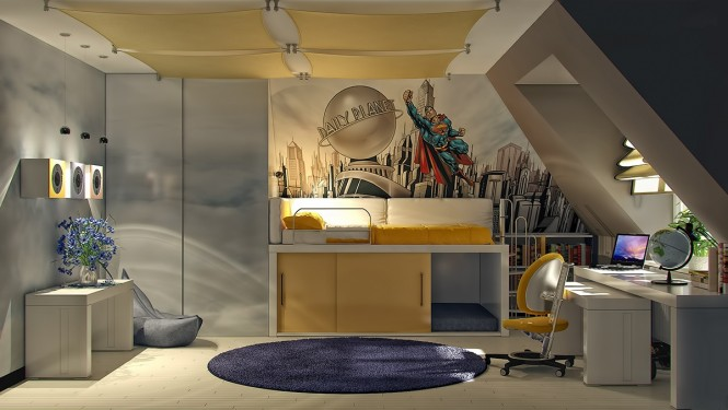 Image of: Kids Bedroom Decoration Ideas with Top 8 Designs view Superman-themed