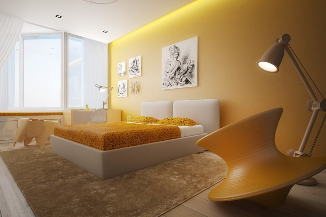 Image of: Kids Bedroom Decoration Ideas with Top 8 Designs view Yellow-white-bedroom
