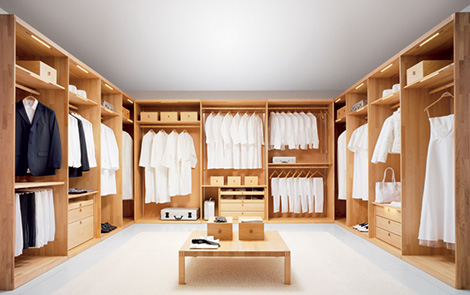 Image of: Wooden Wardrobe Custom Closet Shelves System by Team 7 view