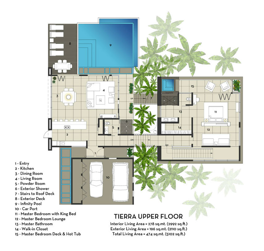 Image of: You Must Visit Tierra Villa Vacation Home in Costa Rica view Upper-Floor-Plan