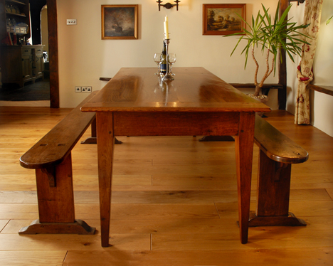 Image of: Antique French Farmhouse Table With Benches