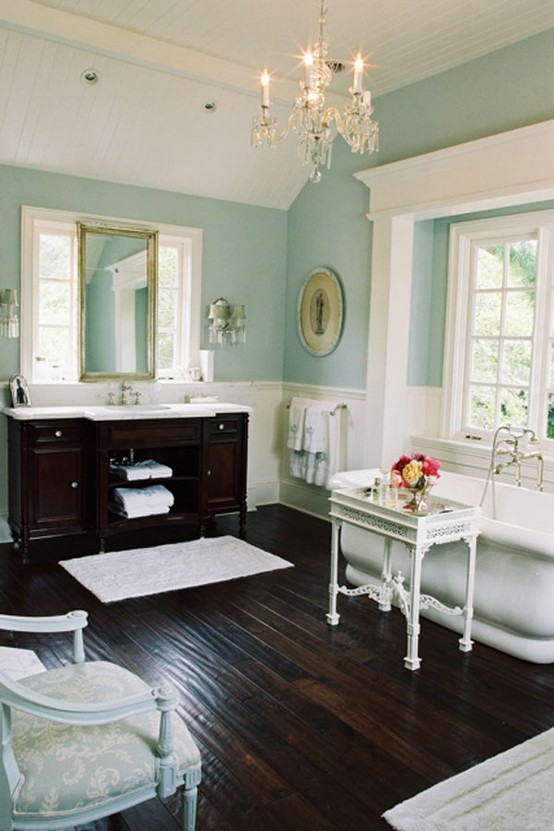 Image of: Aqua and Wooden Brown Bathroom