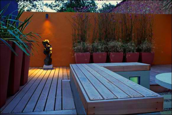 Image of: Backyard Modern Deck with Orange Wall