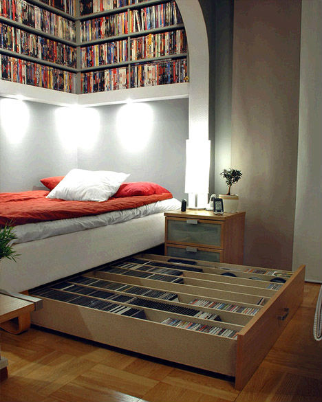 Image of: Bed Nook with Wonderful Storage